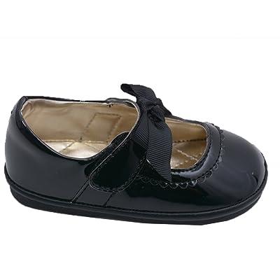 Angel Little Girls Black Grosgrain Bow Velcro Strap Mary Jane Shoes 4-7 Toddler