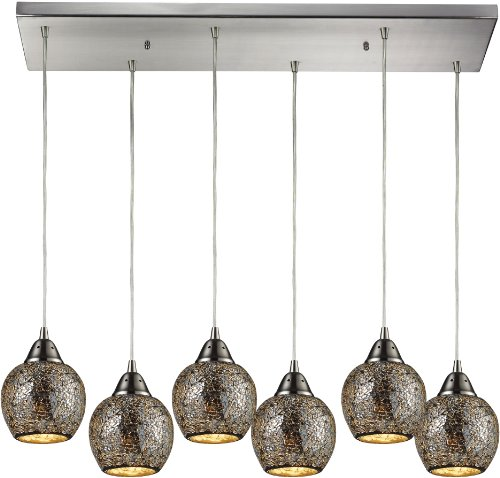Elk 10208/6RC-SLV 30 by 9-Inch Fission 6-Light Pendant with Silver Glass Shade, Satin Nickel Finish