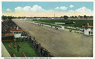 Louisville, Kentucky - Famous Churchill Downs on Derby Day Scene (9x12 Collectible Art Print, Wall Decor Travel Poster)