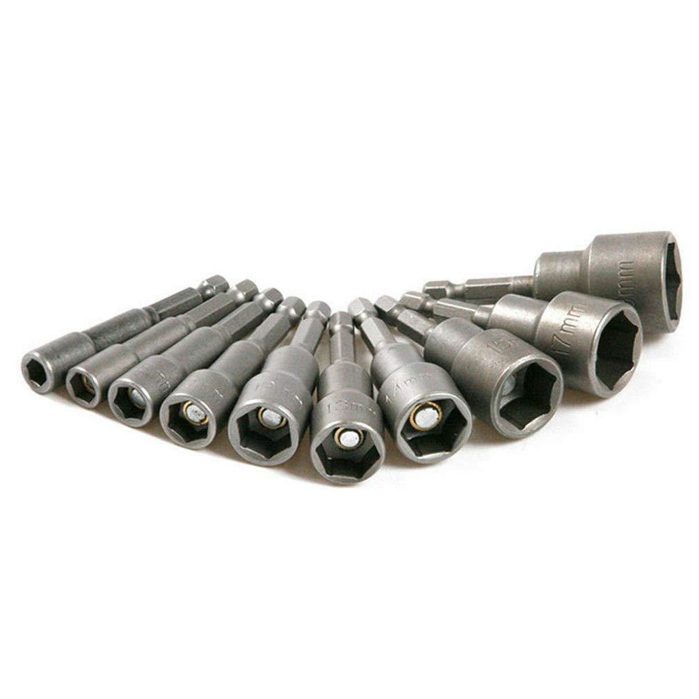 Juego de 10 boquillas hexagonales bricolaje piezas de coche para casa carpinter/ía llaves de vaso magn/éticas de acero al cromo vanadio 6//7//8//10//12//13//14//15//17//19 mm