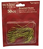 Ornament Hooks: Brass Colored Hooks, 1 Package of 50