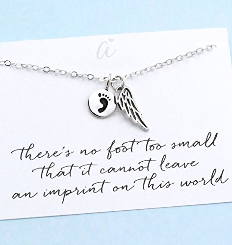 (Child Memorial Jewelry Mother's Remembrance Necklace Sterling Silver Angel Wing/Baby Footprint Charm Miscarry Infant Loss Grief Sympathy Gift)