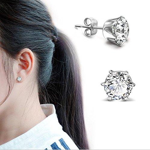 Hosaire Ear Stud 5mm Stainless Steel Round Cubic Zirconia Inlaid Stud Earrings Mens Womens