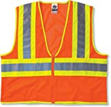 Ergodyne GloWear 8229Z ANSI Economy Two-Tone High Visibility Orange Safety Vest, 2XL/3XL