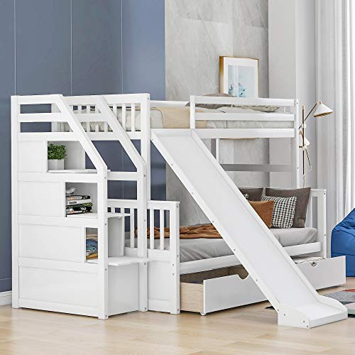 Merax-Twin-Over-Full-Bunk-Bed-with-Drawers-Storage-and-Slide-Multifunction-Wood-Loft-Bed-for-Kids-Adults-White