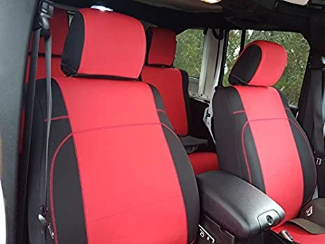 Front Pair Seats only GEARFLAG Neoprene Seat Cover Custom fits Jeep Wrangler JK 2//4 Doors 2007-17 with no Side airbag Black