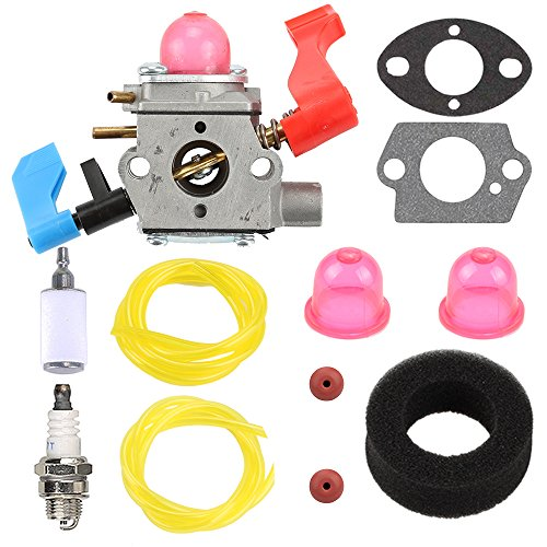 Carburetor with Air Fuel Filter Tune Up Kit for C1Q-W11G Poulan Weed Eater Craftsman 530071465 530071632 530071775 PPBVM200 PPBVM200LE WT200LE BV1800LE BV1650LE BV2000 BV2000LE BV200 Carb