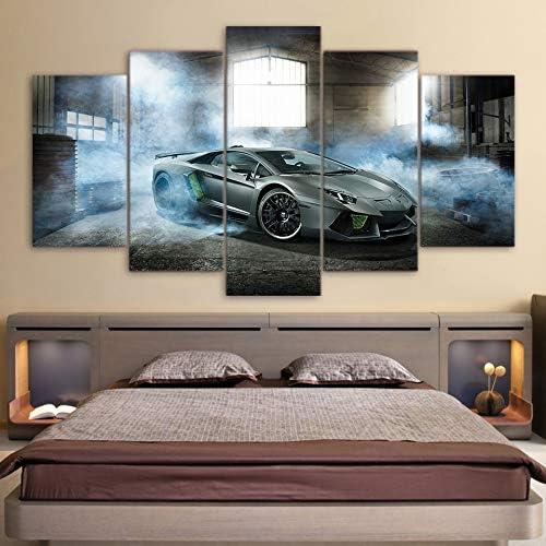 mmwin Pinturas en Lienzo Sports Car Poster Art w Decoración para el hogar 5 Piezas HD Imprimir Imagen Decorativa Habitación: Amazon.es: Hogar