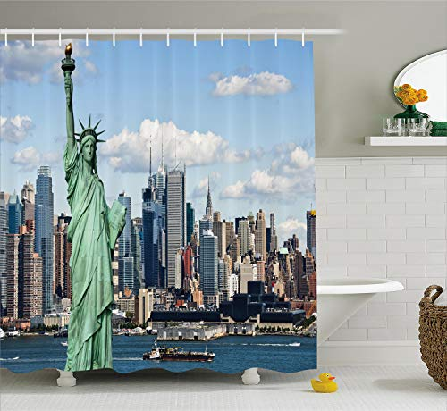 Ambesonne New York Shower Curtain, Liberty in NYC Harbor Urban City Print Famous Cultural Landmark Picture, Cloth Fabric Bathroom Decor Set with Hooks, 84