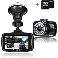 Aisdom 1080P Full HD Dash Cam With 32GB Card, Car DVR Vehicle Dash Cam, 2.7 LCD Screen, 160 Degree Wide-Angle Len, G-Sensor, Night Vision, Parking Guard, Loop Recording, ADAS
