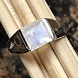 Natural Princess Cut Rainbow Moonstone 925 Solid Sterling Silver Men's Ring sz 8, 9, 10, 11, 13