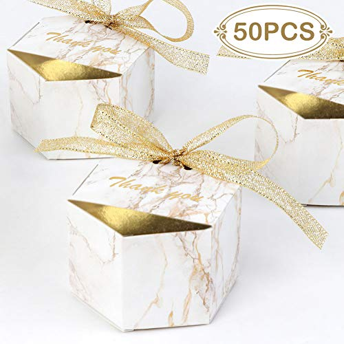 AerWo 50pcs Marble Wedding Party Favor Boxes, Gold Wedding Candy Boxes Bags Hexagonal Chocolate Treat Gift Boxes with Ribbons for Wedding Bridal Shower Baby Shower Birthday Party ()