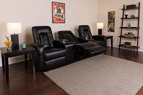 Flash Furniture Eclipse Series 3-Seat Push Button Motorized Reclining Black Leather Theater Seating Unit with Cup Holders