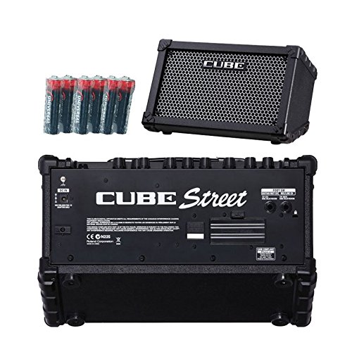 Roland Cube Street Battery-powered Guitar Combo Amplifier Black with 6 Free Universal Electronics AA Batteries by Roland