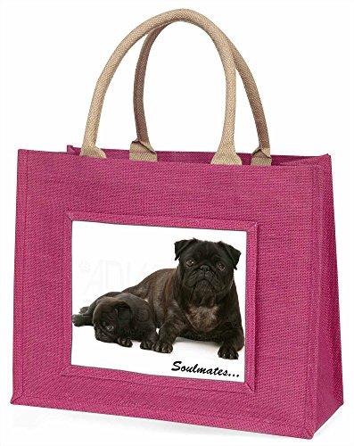 Advanta schwarz Pug Dogs, SOULMATES Große Einkaufstasche Weihnachten Geschenk Idee, Jute, Rosa, 42x 34,5x 2cm