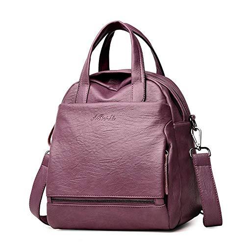 Multi Dos Femme Femme Mode PU Sac Sac Couleur de Main à Sac à usages WWAVE purple Solide FqYf66