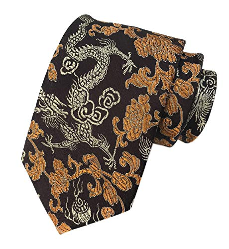 Mens Brown Copper Gold Ties Dragon Paisley Novelty Necktie Formal Dress Suit Neckwear
