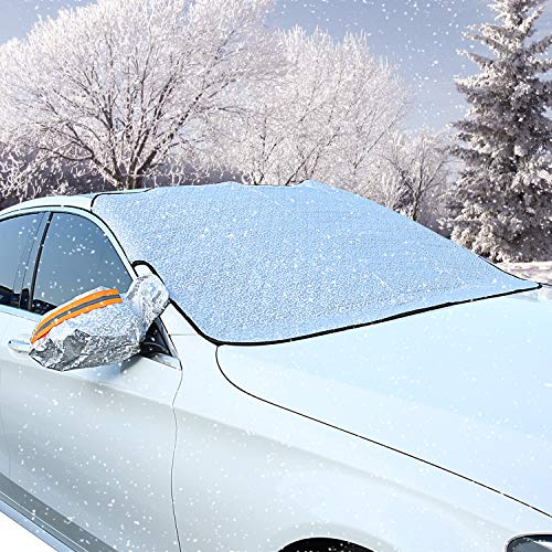 ATUNME Car Windshield Snow Cover Frost Guard, Windproof Car Front Window Cover with Rearview Mirror Protective Covers, Winter Ice Dust Protector Sun Shade Fits Most Vehicle, Auto Cars, CRV SUV ()