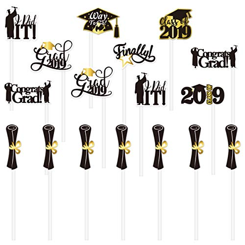 LUOEM 72pcs 2019 Graduation Cake Toppers Graduation Party Cupcake Topper Cake Decorations Party Toothpick Picks Toppers -