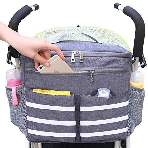 Parents Stroller Organizer Travel Bag with Shoulder Strap Insulated Bottle Holder Lightweight Design Storage Pockets for Bottles,Diapers,Toys,Saliva Towel-Fits All Baby Stroller Models (White Stripe) ()