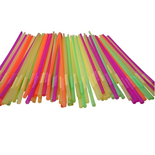 19.5 Long Flexible Neon Drinking Straws - Assorted Colors -