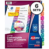 Avery Ready Index 10-Tab Binder Dividers, Customizable Table of Contents, Multicolor Tabs, 6 Sets (11188)