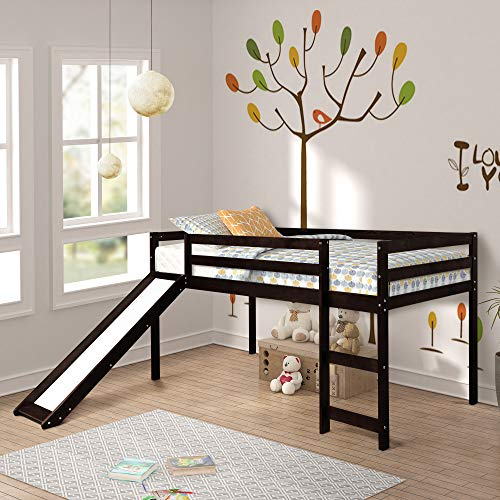 Harper&Bright Designs WF187744 Kids Loft Bed with Slide, Multifunctional Design, Twin(Espresso), 78.2