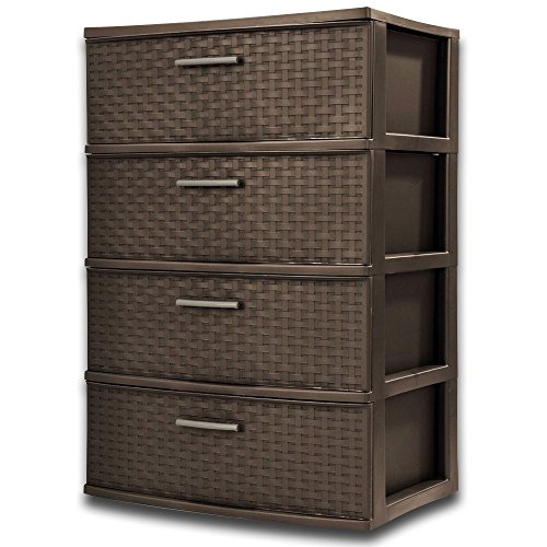 Wicker File Cabinet 4 Drawer Wide Weave Tower Stylish Weave Pattern Provides A Furniture-Like Look In Easy To Clean Easy Pull Handles Durable Plastic Elegant And Functional Piece Color -