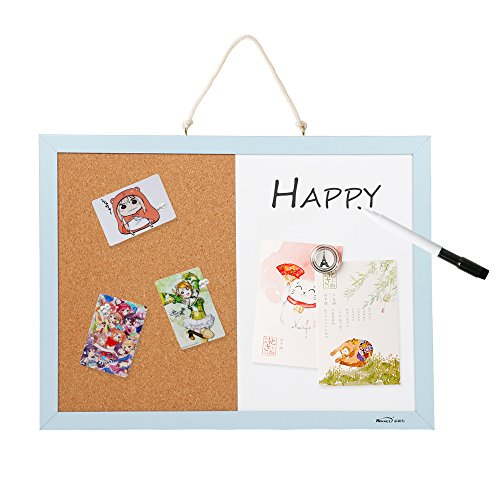 Combination Magnetic Whiteboard Bulletin Board, Dry Erase/Cork Board Small Mini Hanging Tack Message Memo Picture Board for Home Office SPESSN -