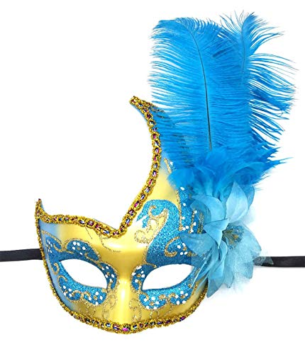 Women's Feather Masquerade Mask Venetian Halloween Mardi Gras Costumes Party Ball Prom Mask (ZA Sky Blue)