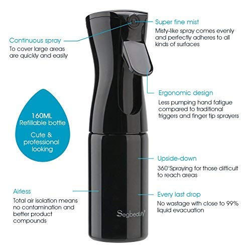 Hair Spray Bottle, Segbeauty Continuous Water Mister Spray Bottle Empty, Ultra Fine Aerosol Water Mist Trigger Sprayer for Taming Hair in Morning, Hairstyling, Plants, Pets, Cleaning-5.4oz/160ml Black by Segbeauty (Image #2)