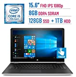 2018 HP 15.6-inch Touchscreen (1920x1080) IPS 2-in-1 Convertible Laptop PC, Intel Core i5-7200U, 8GB DDR4 SDRAM, 128GB SSD + 1TB HDD, Bluetooth, AMD Radeon 530, HDMI, B&O PLAY, Stylus, Windows 10