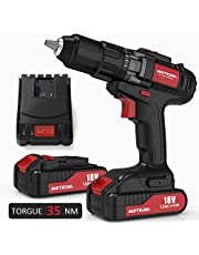 """Cordless Drill Driver, Meterk 18V Cordless Electric Drill Driver with 2Pcs Li-Ion Batteries,2 Speed Drill Driver with 21+1 Position Clutch, 1/2"""" Max Chuck with Torque 35N.m,1H Fast Charger"""