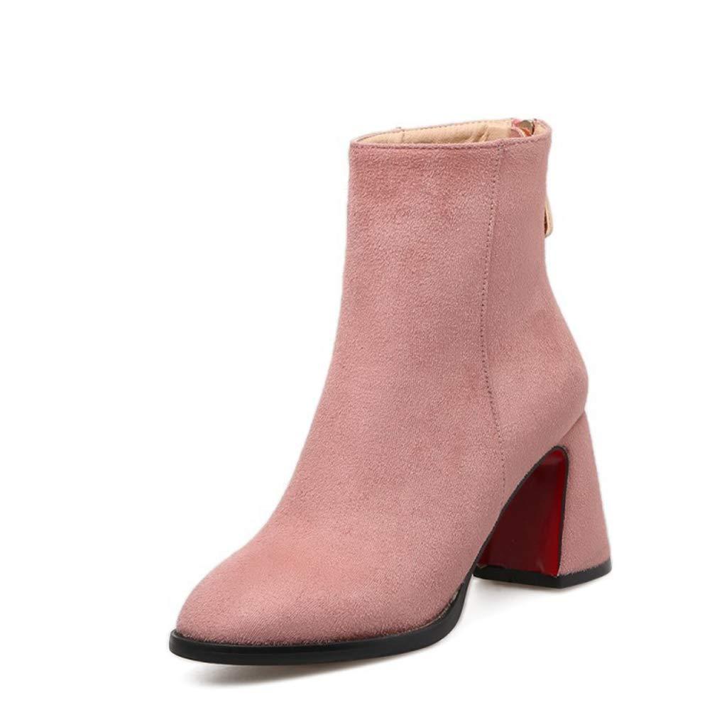 Damenstiefeletten, Spitze Dicke Ferse Rosa mittelrohr Mode Stiefel Damen Damen Damen Herbst Winter Neue 7,5 cm high Heel Stiefeletten (Farbe   B, Größe   38) f80ce7