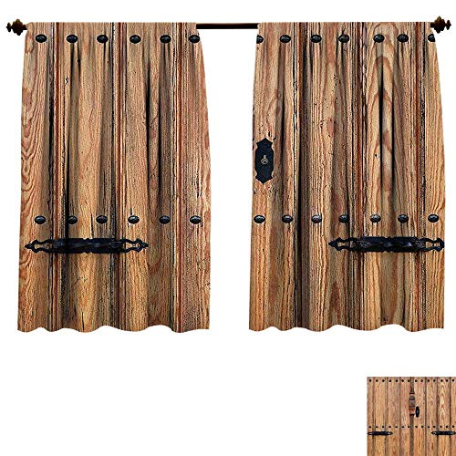 Qianhe-HOME Room Darkening Wide Curtains Rustic Wooden Door Iron Metal Padlock Gate Exit Enclosed Space Building Picture Light Brown Decor Curtains (W72 x L84 -Inch 2 Panels)