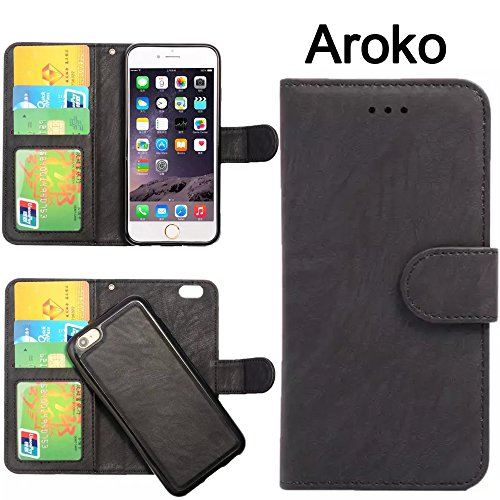 Horizontal Case Fashion (iPhone SE Case, iPhone 5S Case,Aroko 5SE 2in1 Wallet Case, Luxury Fashion Pu Leather Wallet Flip Case Cover with Built-in Credit Card/ID Card for Apple iPhone SE/5S (5SE/5S/5, Black))
