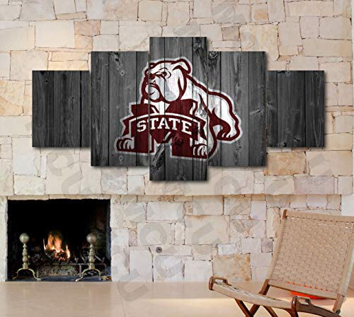 5 Piece American Football College University Teams Art Decor Wall Poster (5 Piece Medium, Mississippi State Bulldogs) (Mississippi State Office Supplies)