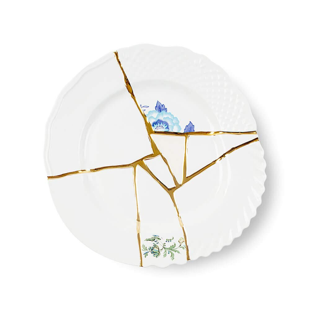 Seletti Kintsugi Flache Teller aus Porzellan und 24 Karat Gold mod.3