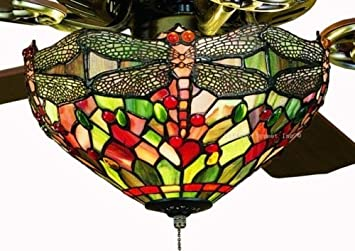 Amber dragonfly tiffany stained glass ceiling fan 52 inches width amber dragonfly tiffany stained glass ceiling fan 52 inches width mozeypictures Choice Image