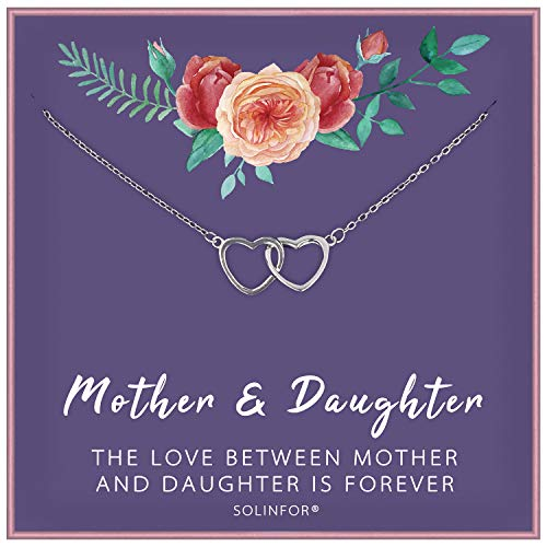 SOLINFOR Mother Daughter Necklace - 925 Sterling Silver Two Interlocking Hearts Necklace - Mothers Day Mom Birthday Jewelry Gift Idea
