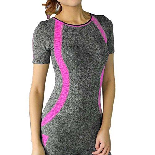 BOBORA Mujer Camiseta Deporte Superior De La Compresion Del Tanque Tops Con Mangas Cortas Para Fitness Yoga Transpirable Rosa+Rojo