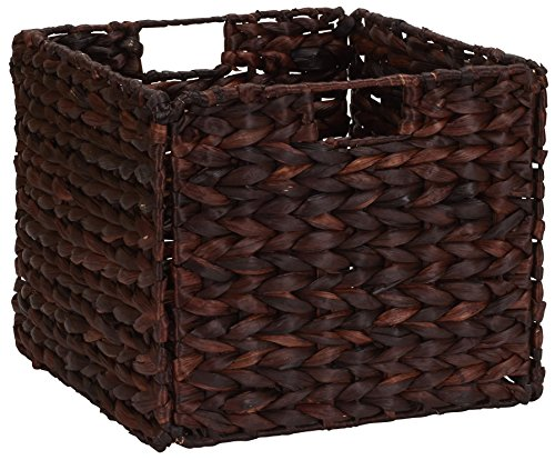Household Essentials Wicker Open Storage Bin for Shelves, Dark Brown (Basket Banana Woven Laundry Leaf)