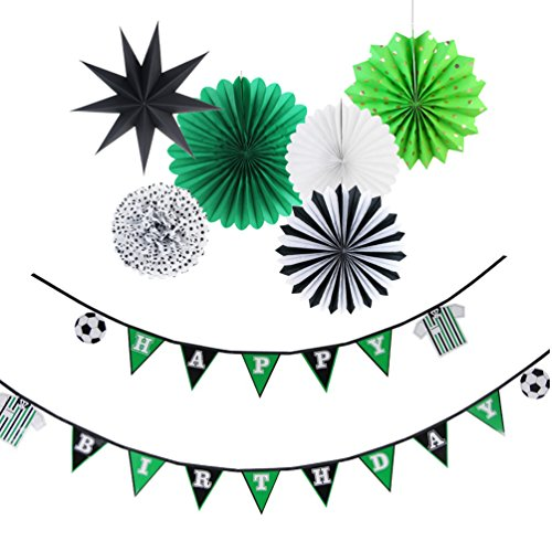 Soccer Theme Birthday Party Decorations Kit Baby Boy Birthday Kids Room Photo Backdrop Decoration 7 Pieces SUNBEAUTY