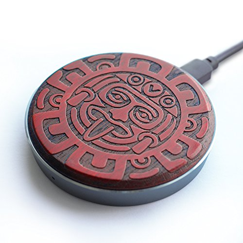 - Wireless Charger, EnacFire W3 Wood Made Aztec Design QI Fast Wireless Charger Charging Pad