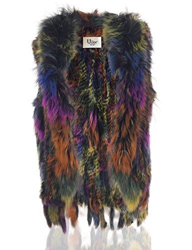Natural de cuello Multicolor Uilor® pie conejo Mujeres de punto de 2 100 chaleco con de piel qCYp1Ew