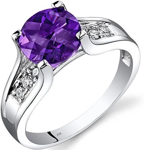 14K White Gold Amethyst Diamond Cocktail Ring 1.75 Carats Sizes 5-9