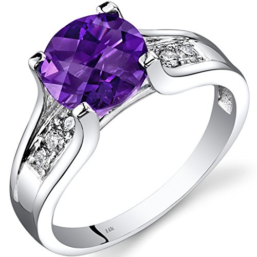 14K White Gold Amethyst Diamond Cocktail Ring 1.75 Carats Size 7