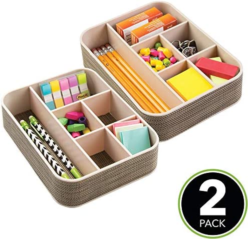 mDesign Organizador escritorio con 6 divisiones - Caja con ...