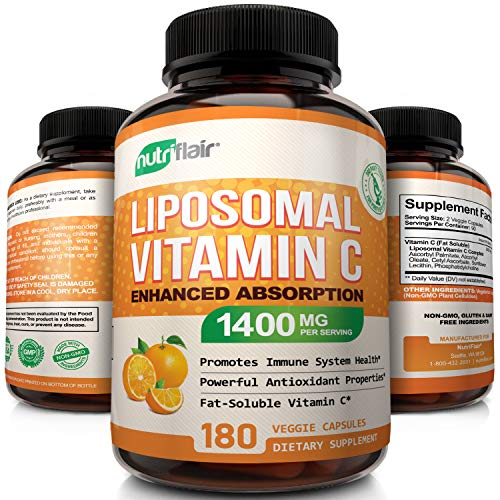 Best NutriFlair Liposomal Vitamin C 1400mg, 180 Capsules - High Absorption, Fat Soluble VIT C, Antioxidant Supplement, Higher Bioavailability Immune System Support  Collagen Booster, Non-GMO, Vegan Pills