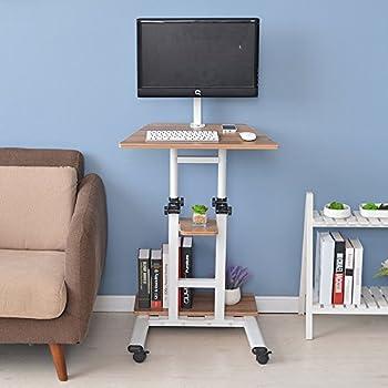 Soges Adjustable Mobile Sit Standing Desk Stand Up Desk Computer Desk  Workstation With Wheels Moving Desk, Oak XG01 OK